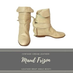 Vintage Maud Frizon Buttery Leather Ankle Tie Boot
